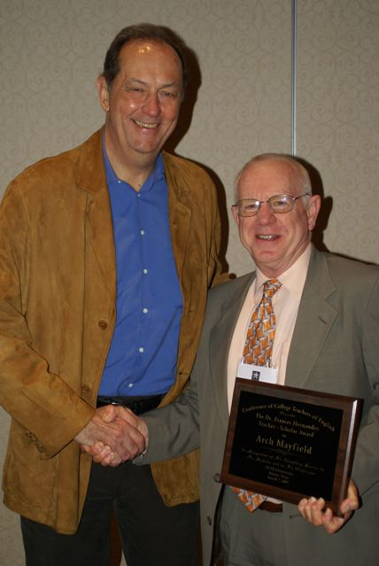 Senator Bill Bradley congratulates winner of the 2009 Frances Hernández Teacher-Scholar Award, Arch Mayfield of Wayland Baptist University