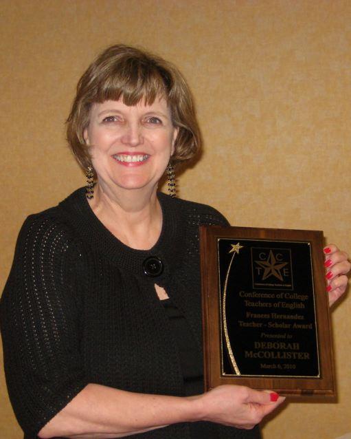 The 2010 Frances Hernandez Award winner is Deborah McCollister, Professor of English at Dallas Baptist University.