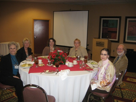 At the head table: Linda Cook, Peggy Kulesz, Karla Morton, Susan Blassingame, Dale Priest, and Karen Priest